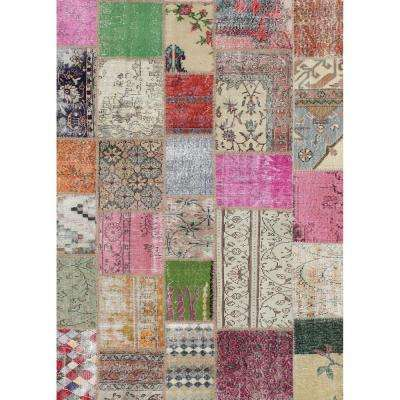 Washable Patchwork Boho Multi-Color 5 ft. x 7 ft. Stain Resistant Area Rug