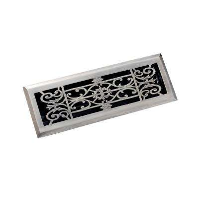 4 in. x 14 in. Decorative Floor Register, Antique Pewter