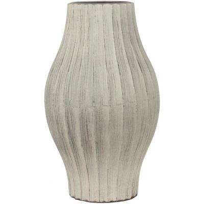 Kilik 17.3 in. Taupe Ceramic Decorative Vase