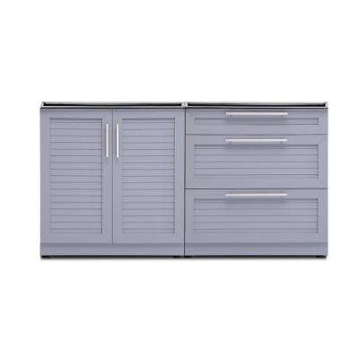 Coastal Gray 2-Piece 64 in. W x 36.5 in. H x 24 in. D Outdoor Kitchen Cabinet Set without Countertop