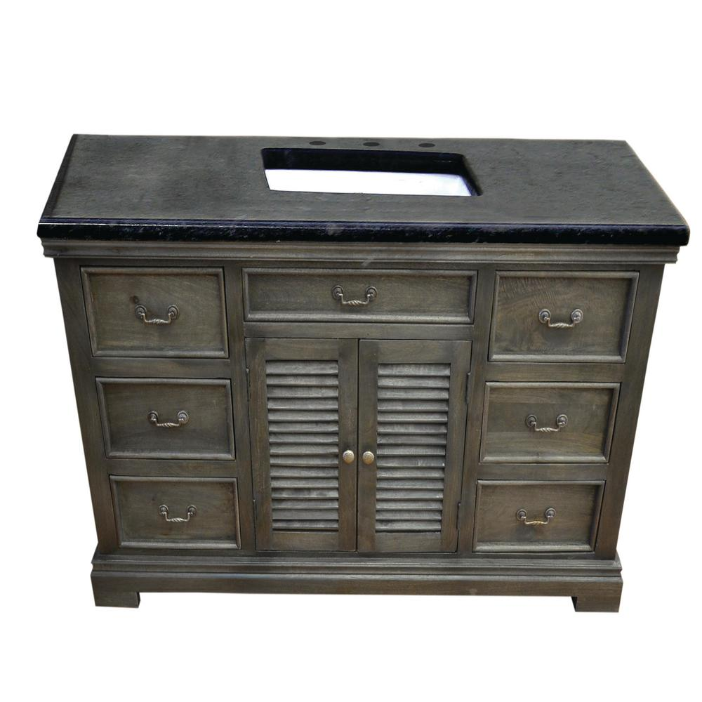 Y Decor Solidified 48 in. W x 24 in. D Vanity in Gray with Granite Vanity Top in Black with White Basin