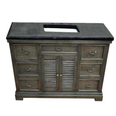 Solidified 48 in. W x 24 in. D Vanity in Gray with Granite Vanity Top in Black with White Basin