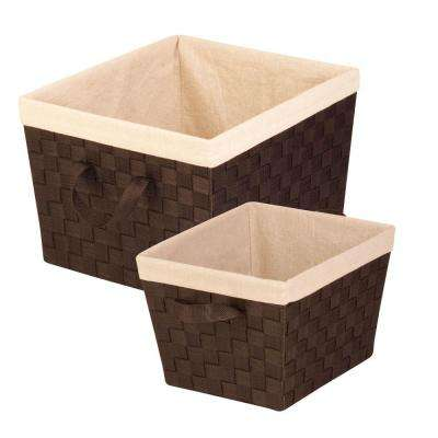 33.8 Qt. and 16.6 Qt. 15 in. x 10 in. Storage Basket in Espresso (2-Pack)