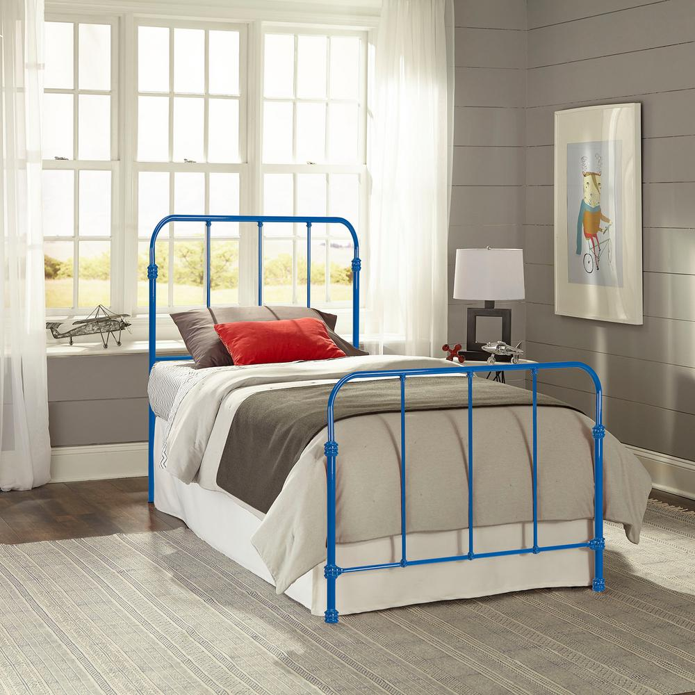 Nolan Cobalt Blue Full Headboard and Footboard with Metal Duo Panels
