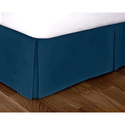 Blue Solid Pattern Queen Bed Skirt