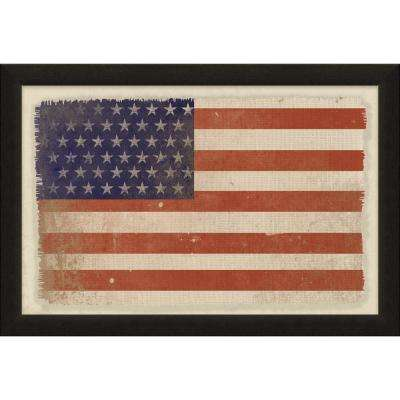 """Vintage Patriotic Collection """"American Flag"""" By Carpentree Framed Natural Canvas"""