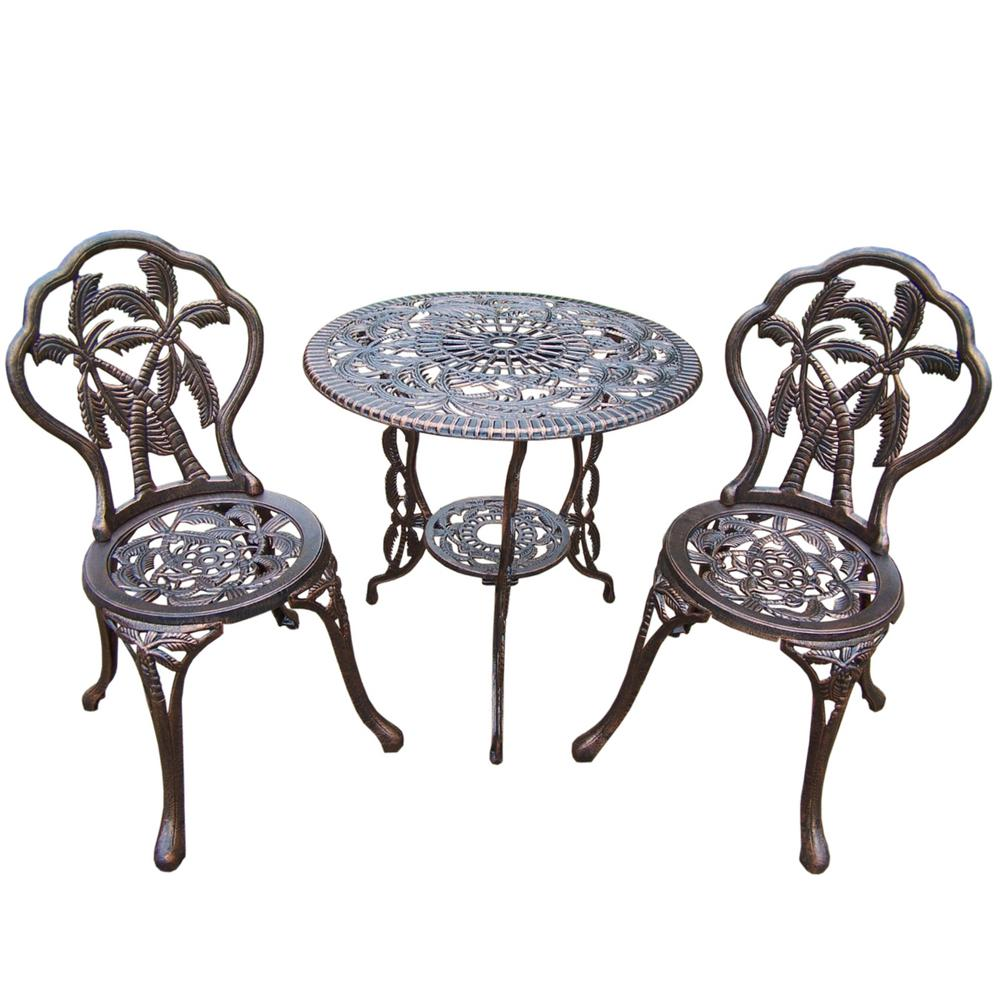 Palm Tree 3 Piece Cast Metal Bistro Set With 26 In Cast Aluminum Top Table And 2 Chairs