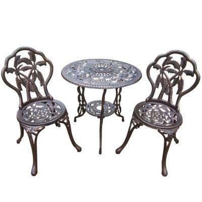 Palm Tree 3-Piece Cast Metal Bistro Set with 26 in. Cast Aluminum Top Table and 2 Chairs