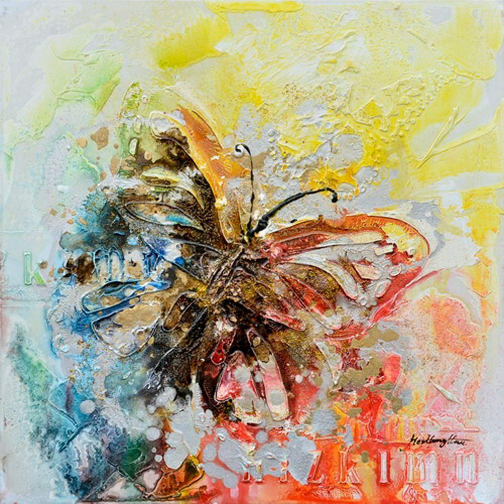 Yosemite Home Decor 23.5 in. x 23.5 in. Butterfly Bliss II Hand Painted Contemporary Artwork-DISCONTINUED