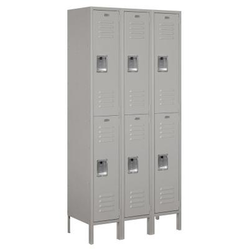 62000 Series 36 in. W x 78 in. H x 15 in. D 2-Tier Metal Locker Assembled in Gray