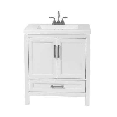 Salerno 31 in. Bath Vanity in White with Cultured Marble Vanity Top in White with White Basin