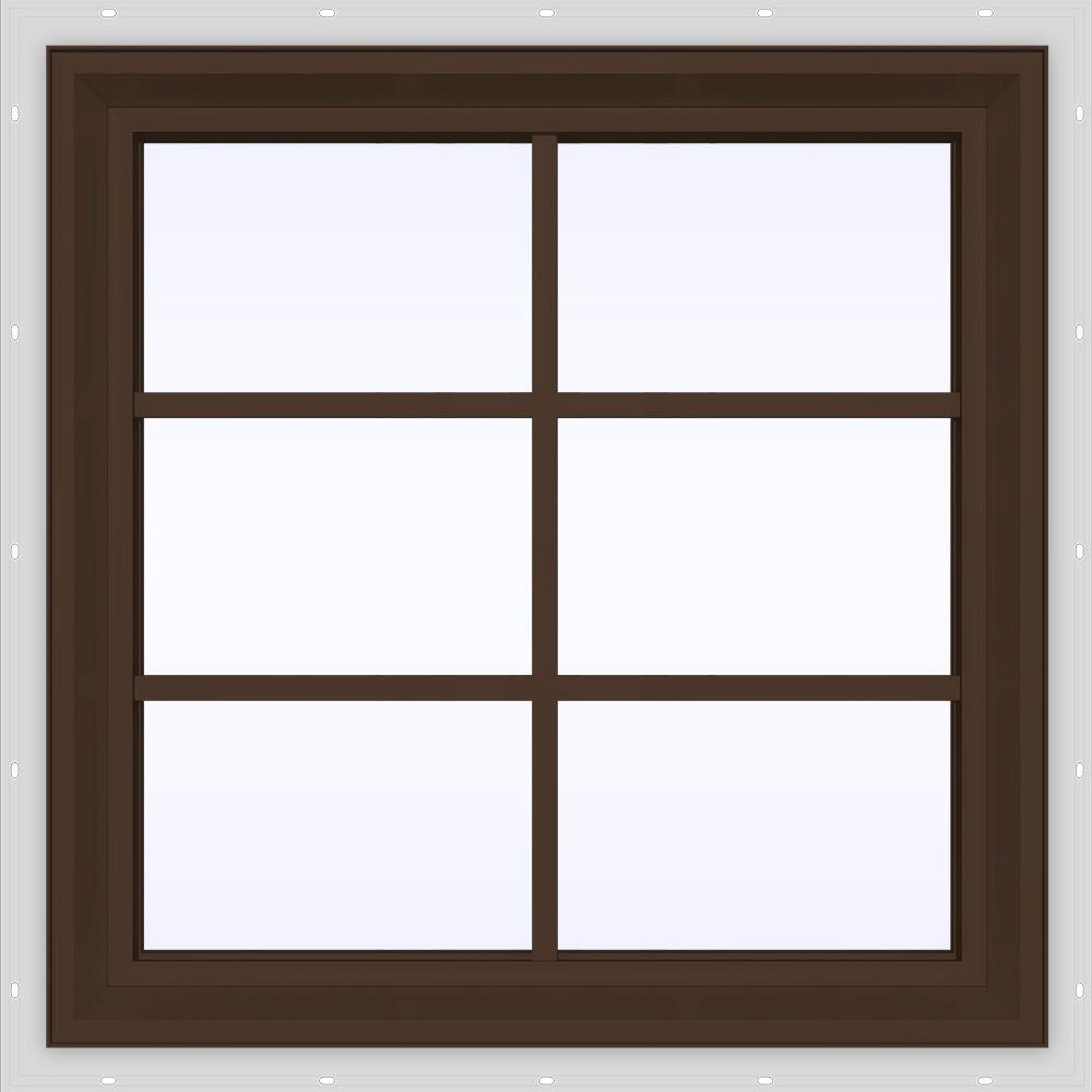 jeld wen 23 5 in x 29 5 in v 2500 series fixed picture vinyl window with grids brown. Black Bedroom Furniture Sets. Home Design Ideas