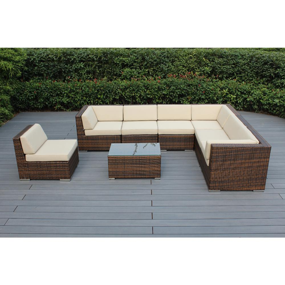 Ohana Depot Mixed Brown 8-Piece Wicker Patio Seating Set with Spuncrylic Beige Cushions