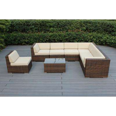 Mixed Brown 8-Piece Wicker Patio Seating Set with Spuncrylic Beige Cushions
