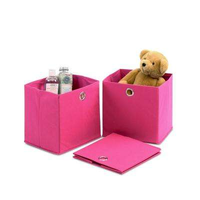 10.65 in. x 10.65 in. Laci Pink Non-Woven Fabric Storage Bin with Handle (3-Pack)