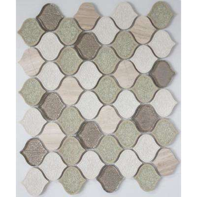 12 in. x 12 in. x 10 mm Tile Esque Crackle Glass and Quartzite Teardrop Mesh-Mounted Mosaic Tile
