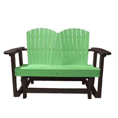 52 in. 2-Person Lime Green on Mocha Recycled Poly-Lumber Outdoor Glider