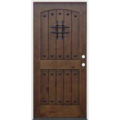 36 in. x 80 in. Walnut Left-Hand Inswing Arched 2-Panel Speakeasy Stained Alder Prehung Front Door with 6-9/16 in. Jamb