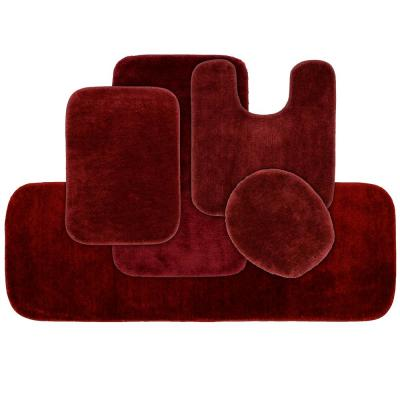 Traditional 5 Piece Washable Bathroom Rug Set in Chili Pepper Red