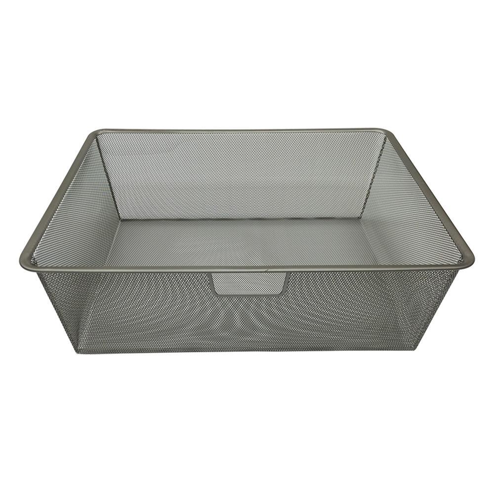 Closet Culture 16.5625 in. D x 22.25 in. W x 7.4375 in. H Wire Mesh Basket Steel Closet System in Champagne Nickel