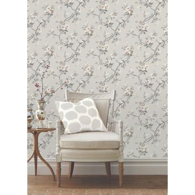 56.4 sq. ft. Chinoiserie Stone Floral Wallpaper