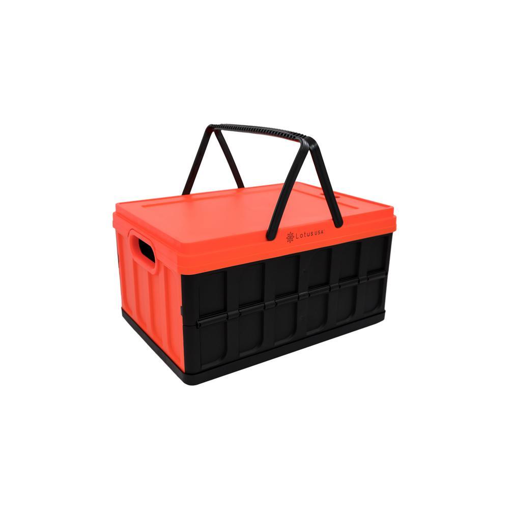 Foldable 33 Qt. Hardside Basket Storage Crate in Red/Black