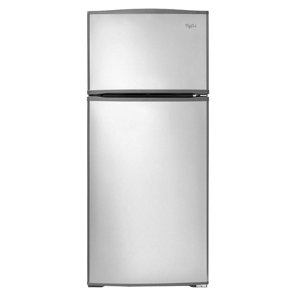 Top freezer refrigerator in monochromatic stainless steel