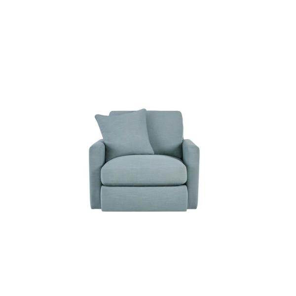 Rutherford Cambric Aloe Teal Upholstered Swivel Chair (39.5 in. W x 35 in. H)