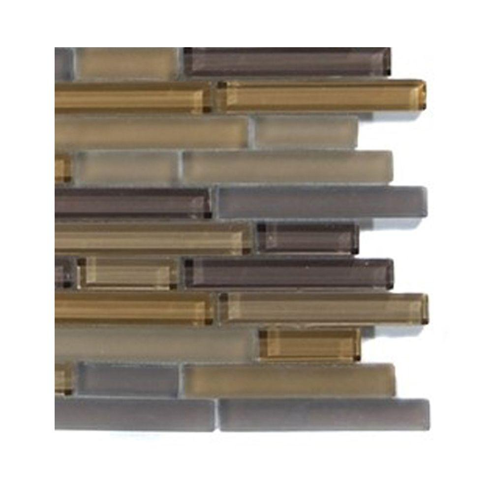 Splashback Tile Temple Khaki Glass Tile - 6 in. x 6 in. Tile Sample-DISCONTINUED