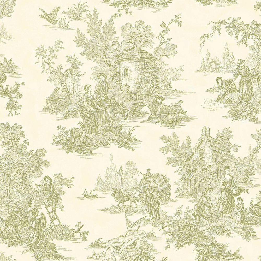 The Wallpaper Company 56 sq. ft. Green Pastel Figurative Toile Wallpaper