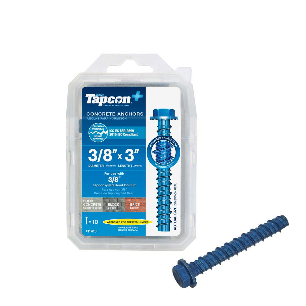 Tapcon 3/8 in. x 3 in. Hex Washer-Head Large Diameter Concrete Anchors (10-Pack)