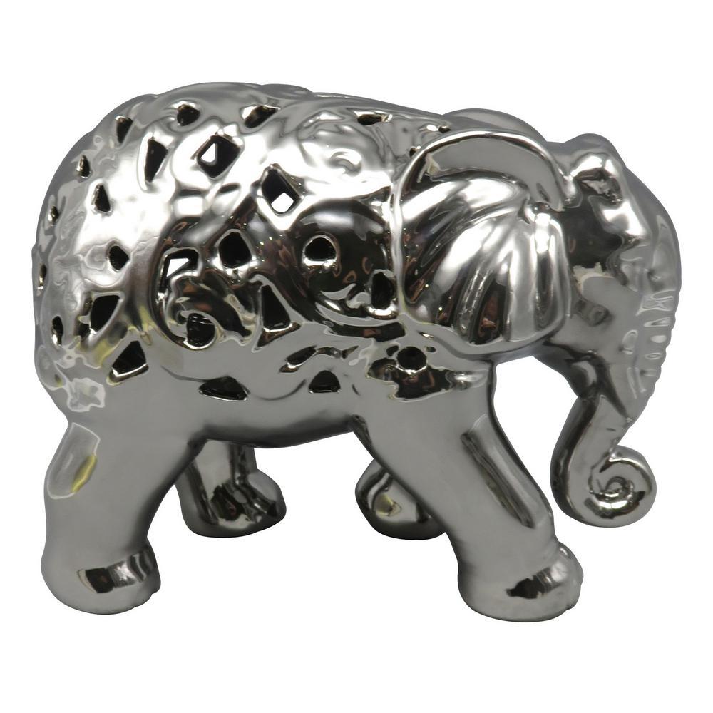 7.5 in. Ceramic Pierced Elephant in Silver