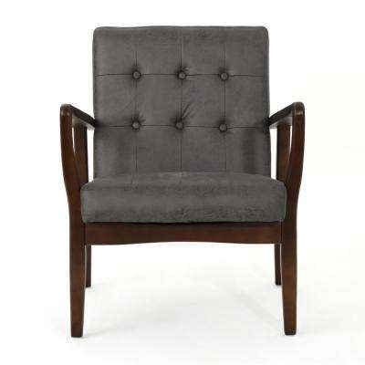 Callahan Mid-Century Modern Button Back Slate Microfiber Club Chair