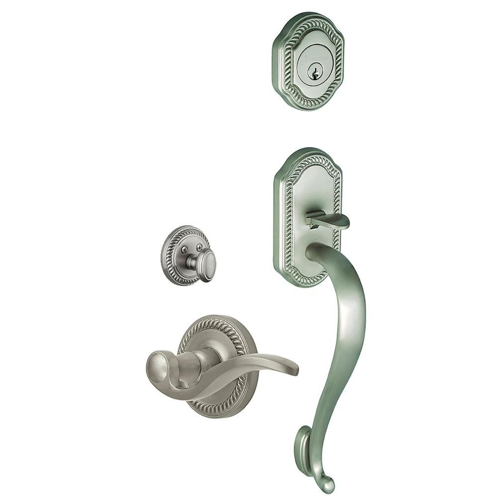 Grandeur Newport Single Cylinder Satin Nickel S-Grip Handleset with Left Handed Bellagio Lever