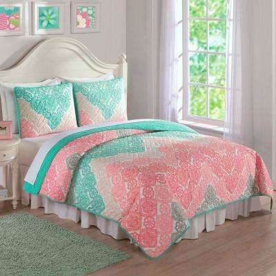 Antique Chevron Green Twin Quilt and Sham