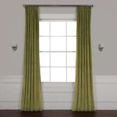 Retro Green Plush Velvet Curtain - 50 in. W x 108 in. L