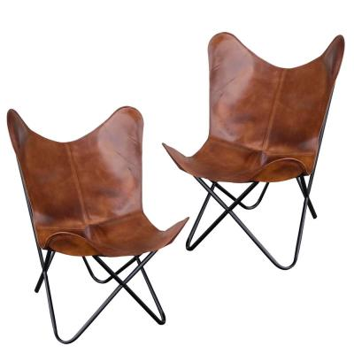 Tan Natural Leather Butterfly Chair (2-Piece Set)