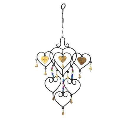 Multi Heart and Bead 25 in. Metal Wind Chime