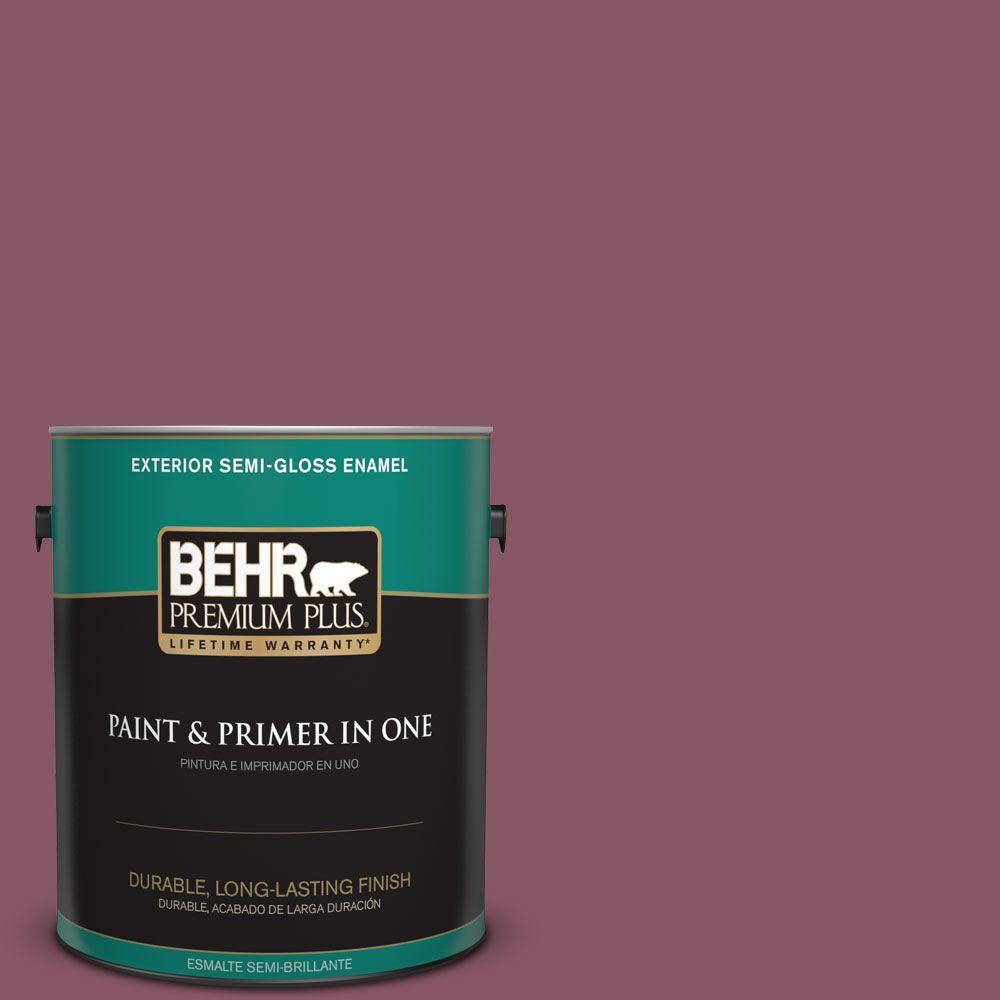 BEHR Premium Plus 1-gal. #100D-6 Rose Garland Semi-Gloss Enamel Exterior Paint