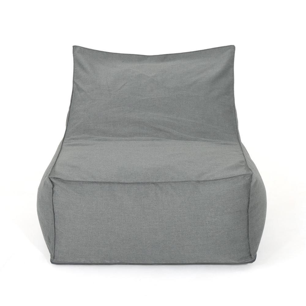 Siarl Dark Gray Fabric Indoor Bean Bag Lounger