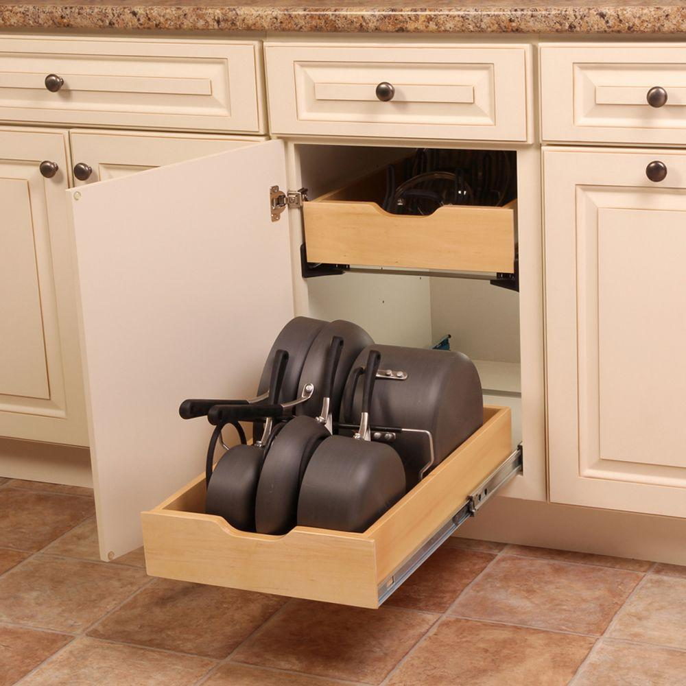 Real solutions for real life 7 5 in x 15 3 in x 12 in pot and pan cabinet organizer pnpkit r blk the home depot