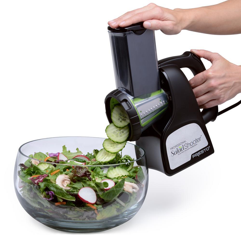 Presto - Professional Saladshooter 114 W Black Electric Food Slicer and Food Shredder