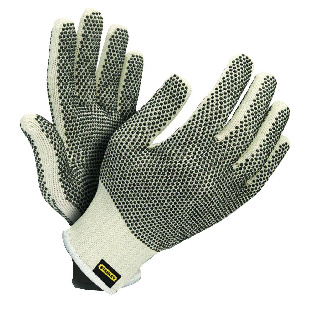 Stanley Natural Blended Cotton Large Glove with Two-Sided PVC Dots (6-Pair)