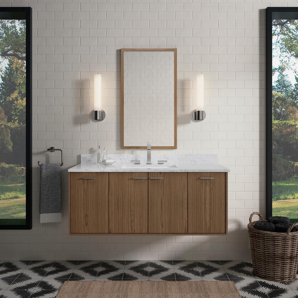 KOHLER Jute 48 in. W Wall-Hung Vanity in Walnut Flex with Marble Vanity Top in Carrara with White Basin