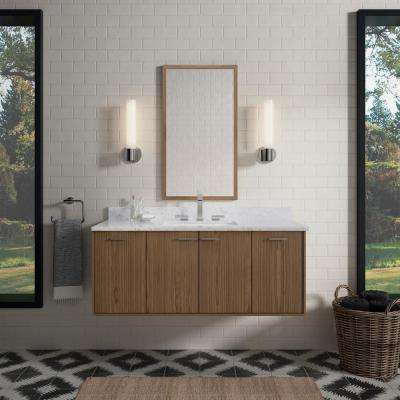 Jute 48 in. W Wall-Hung Vanity in Walnut Flex with Marble Vanity Top in Carrara with White Basin
