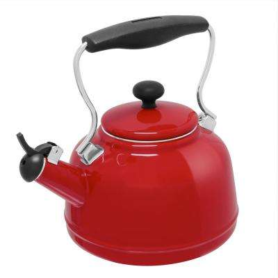 Vintage 6.8-cups Enamel-On-Steel Chili Red Tea Kettle