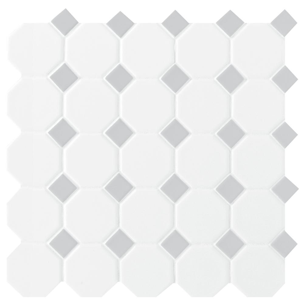 Daltile Prologue Matte White 12 in. x 12 in. x 6 mm Glazed Ceramic Octagon/Dot Mosaic Tile