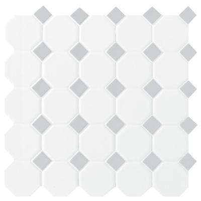 Prologue Matte White 12 in. x 12 in. x 6 mm Glazed Ceramic Octagon/Dot Mosaic Floor and Wall Tile (1 sq. ft./ piece)