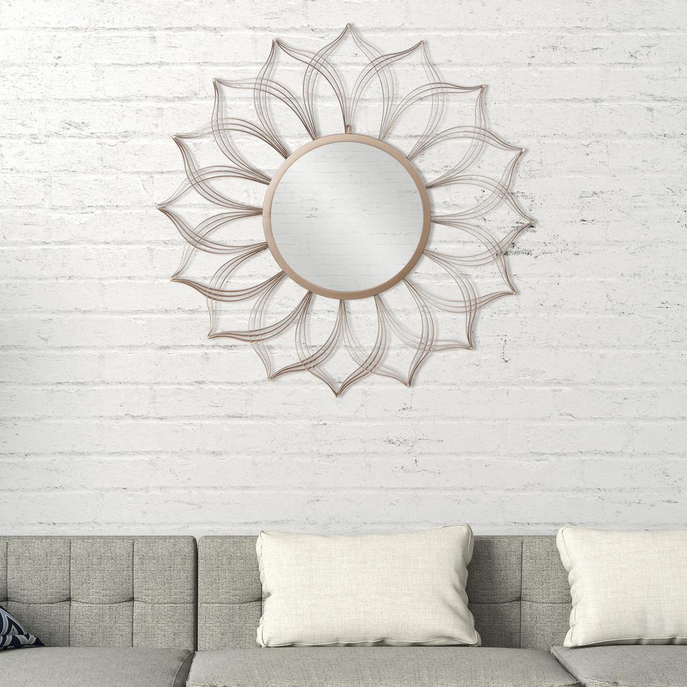Flower Petal Round Champagne Decorative Mirror