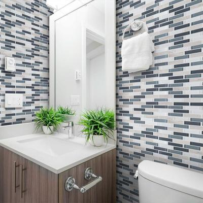 Dolphin Tail Blue 9.75 in. x 12 in. x 6 mm Interlocking Glass Mosaic Tile